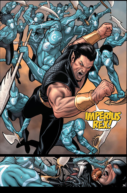 Namor with his army advancing toward Captain and Thunderbolt