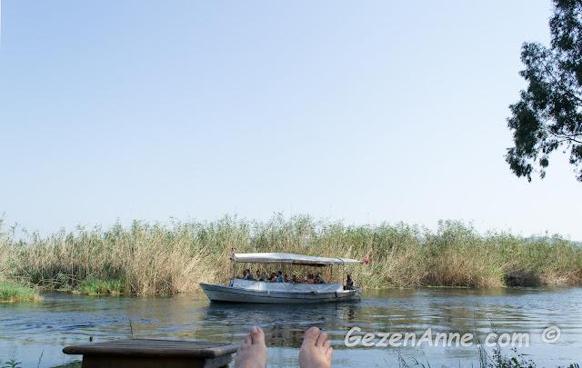 Akyaka Kadın Azmağı'na karşı bir şezlongta uzanmış sazlık ve tekneleri izlerken