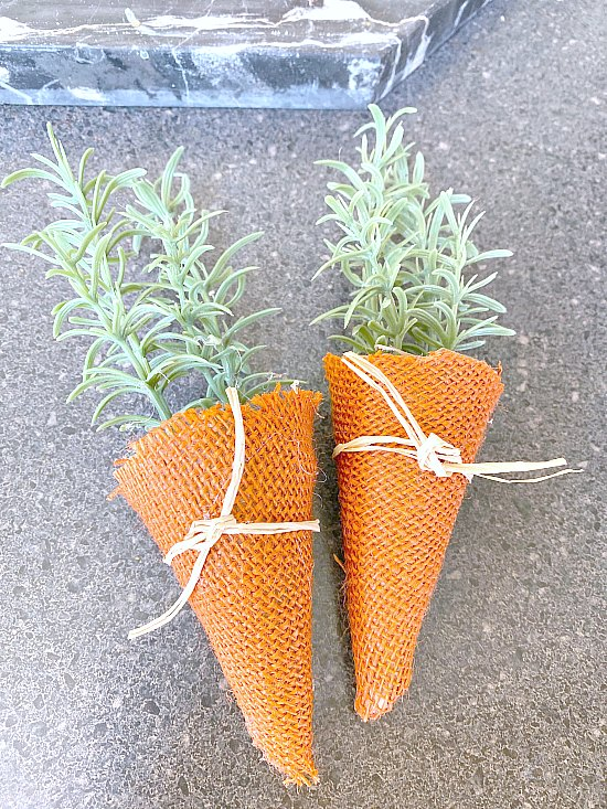 Orange burlap carrots with greenery