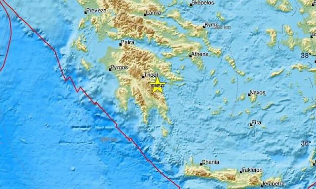Σεισμός στην Ανατολική Πελοπόννησο τα ξημερώματα