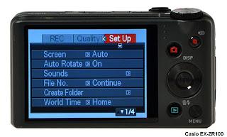 Casio EX-ZR100 camera display
