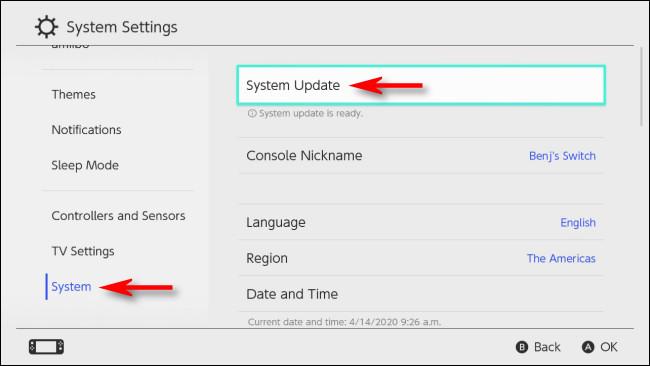 حدد تحديث النظام في إعدادات النظام على Nintendo Switch