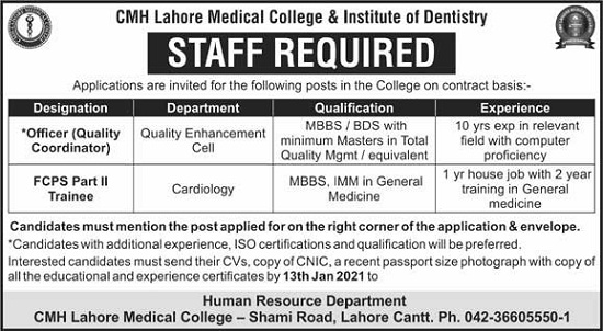 cmh-lahore-jobs-2021-for-officer-fcps-trainee-advertisement