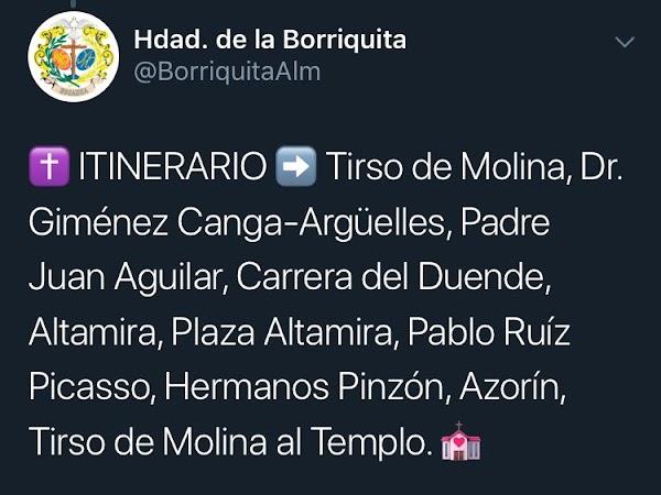 Itinerario del Rosario de aurora de la Hermandad de la Borriquita de Almería