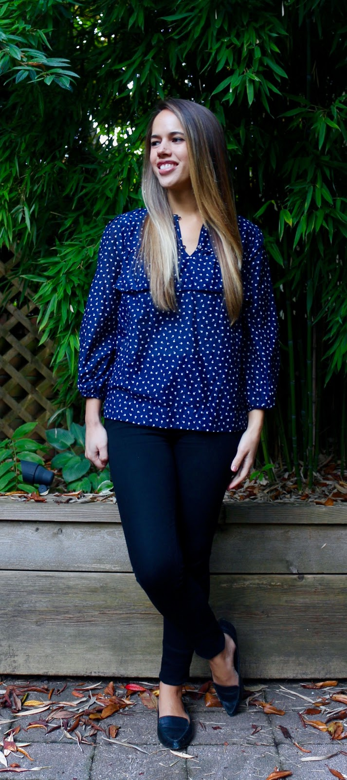 Jules in Flats - Navy J.Crew Ruffle Dot Top (Business Casual Fall Workwear on a Budget)