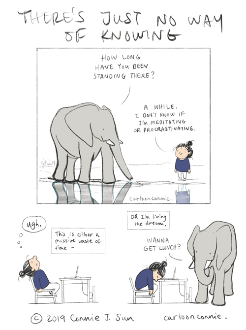 meditating, procrastinating, libra, humor, elephant, illustration, comics, connie sun, cartoonconnie
