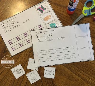alphabet cut and paste worksheet for kids