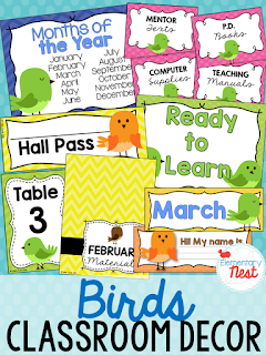 Birds Themed- Classroom Decor Collection to transform your classroom- pick a scheme or a theme to make your classroom decorated and organized