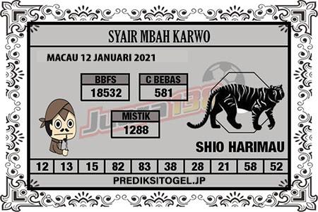 Syair Mbah Karwo Togel Macau Selasa 12 Januari 2021
