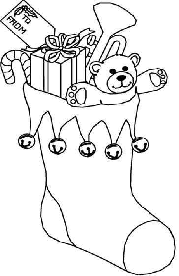 dibujo de calcetin de navidad para colorear