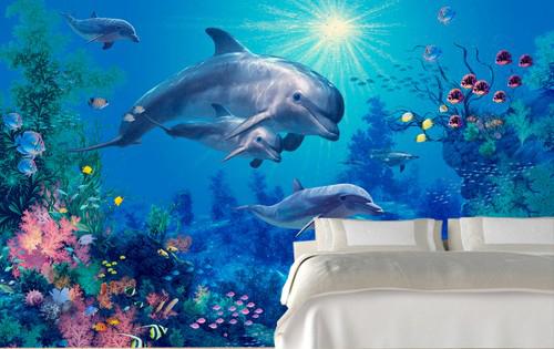 akvaario tapetti delfiini valtameri merenpohja valaisin kalastus koralliriutta Valokuvatapetti