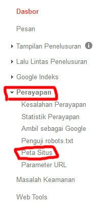 Cara mengirim Sitemap ke Google Webmaster Tools