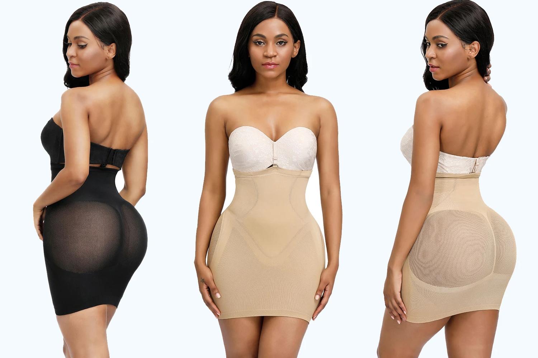 a tryptich of model in shapewear