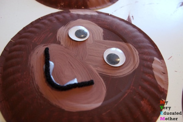 Glue on googly eyes and a bit of yarn to create a fun monkey face!