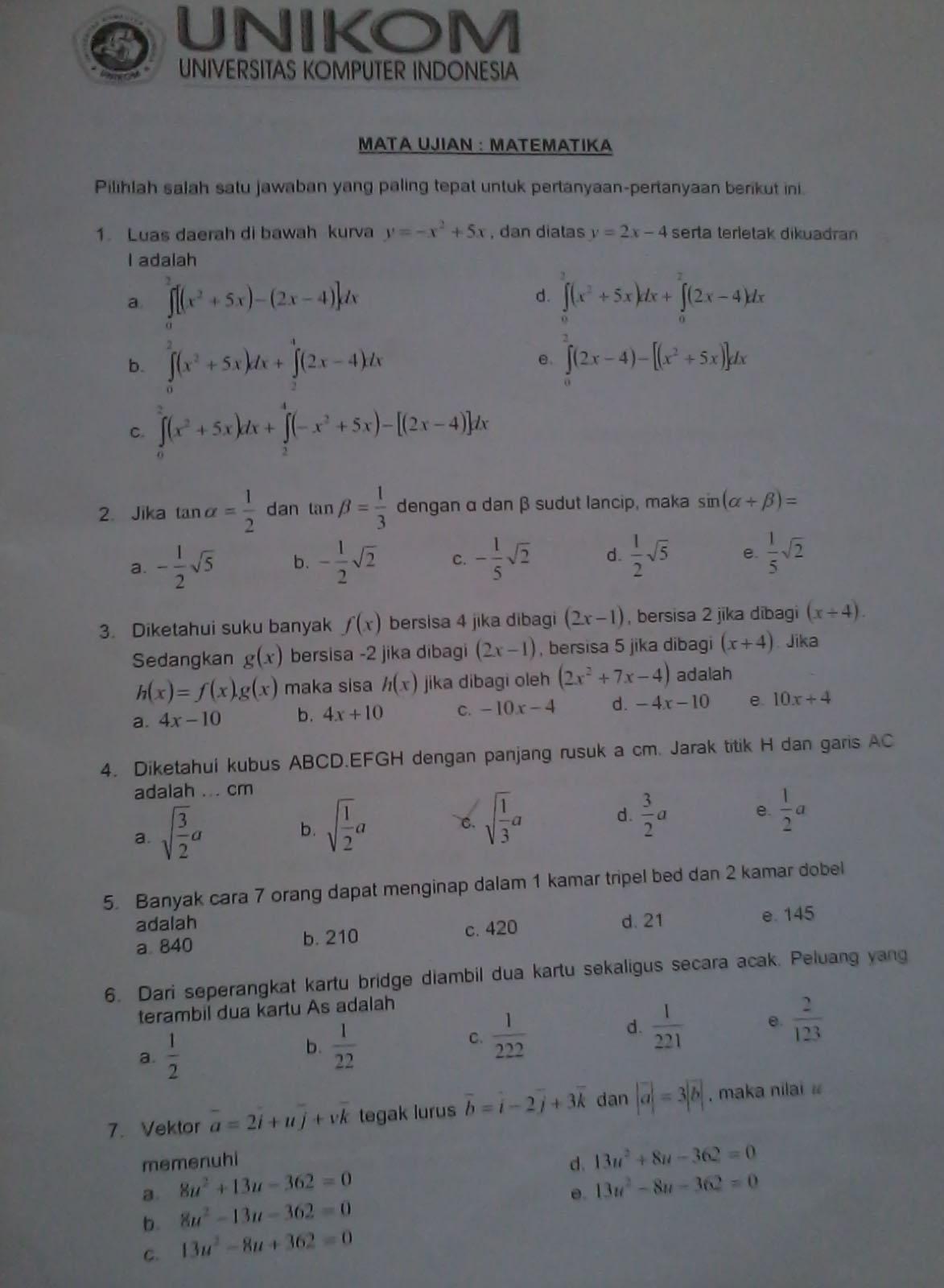 Contoh Soal Tes Matematika Masuk Perguruan Tinggi Swasta Seputaran Guru