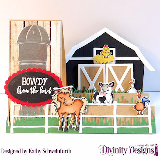 Stamp/Die Duos: Farm Friends, Stamp Set: Hogs & Kisses, Custom Dies: Side Step Card with Layers, Barn, Farm Fence,  Grass Hill, Ovals, Scalloped Ovals, Paper Collection: Weathered Wood