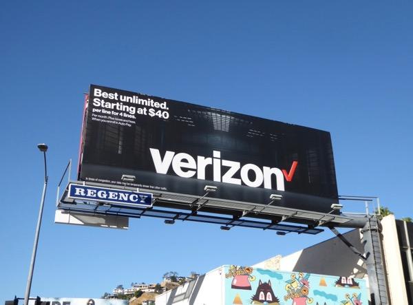 Verizon Best unlimited starting $40 billboard