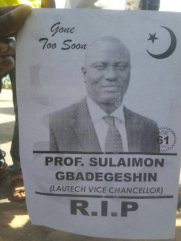 d LAUTECH Students Print Obituary For Their VC To Express Anger Over Their School's Longtime Strike (Photo)