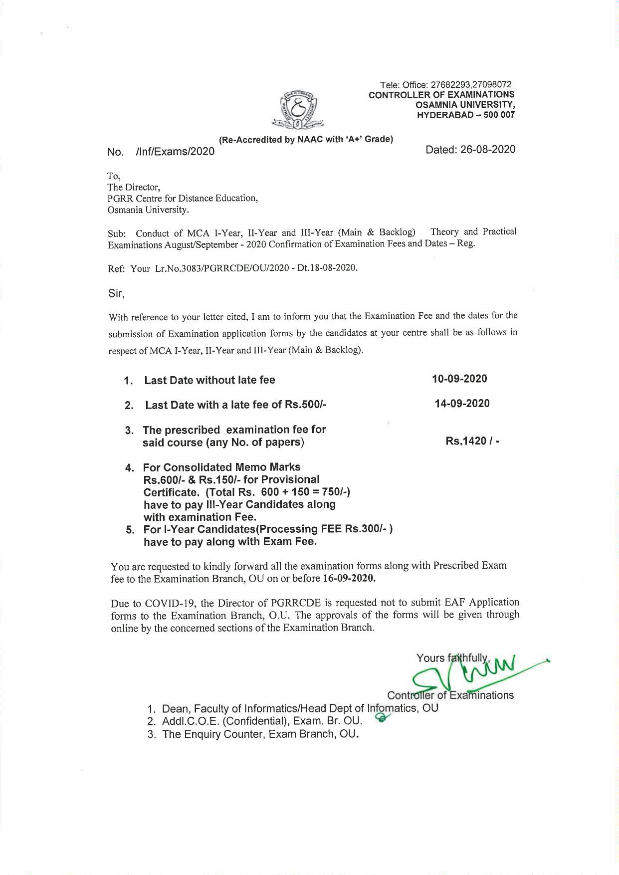 Osmania University MCA (CDE) 1st,2nd & 3rd Year (Regular & Backlog) Sep 2020 Exam Fee Notification