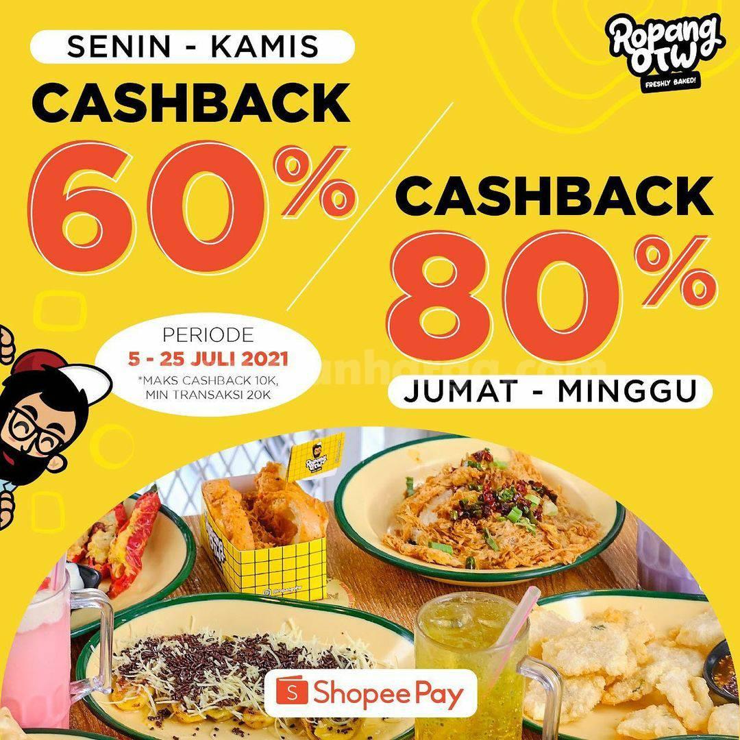 Promo Ropang OTW Cashback 80% pakai pembayaran dengan Shopeepay