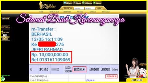 Selamat Kepada Member Setia Ompoker WD Rp 13.000.000,-