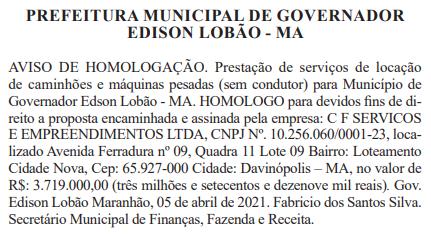 Ivel Veiculos abocanha licitação de quase R$ 4 milhões de reais em Governador Edison Lobão!!!
