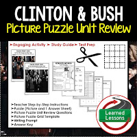 American History Picture Puzzles are great for TEST PREP, UNIT REVIEWS, TEST REVIEWS, and STUDY GUIDES, Clinton and Bush