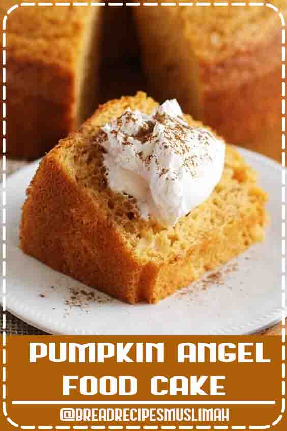 The perfect, quick, and easy fall dessert! This Pumpkin Angel Food Cake is light and airy with a hint of pumpkin! Serve with cool whip, then sprinkle with cinnamon and its ready to eat! Save this pin!  #bread  #recipes #homemade #easy #dessert