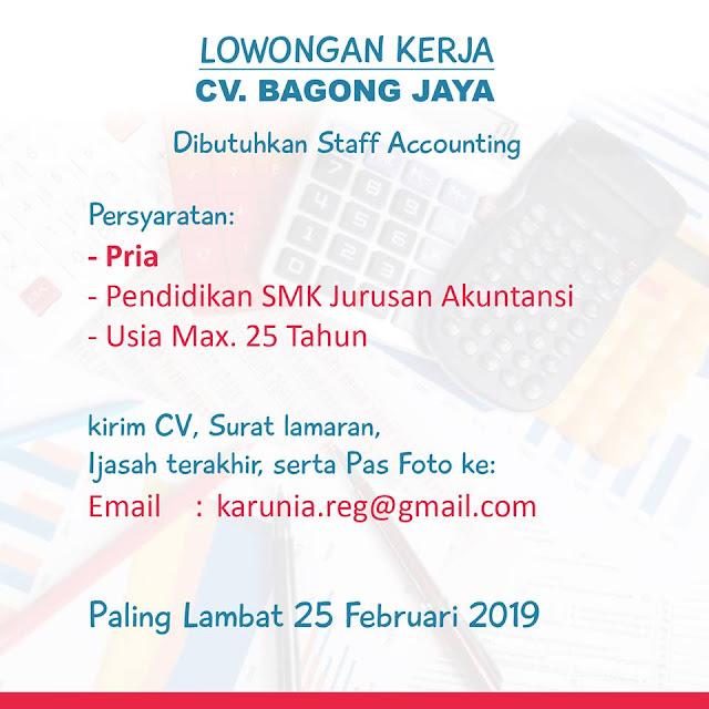 lowongan kerja staff accounting bagong jaya surabaya
