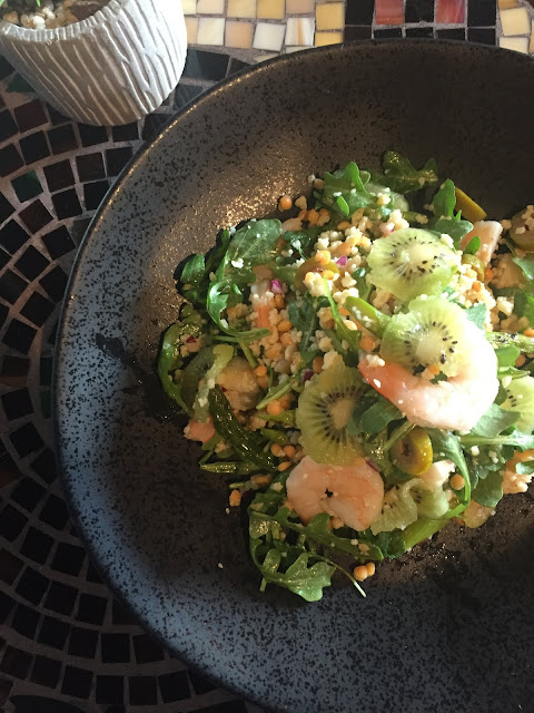Fresh, healthy and beautiful Shrimp and Kiwi Salad at Coquelicot. Image credit Coquelicot.