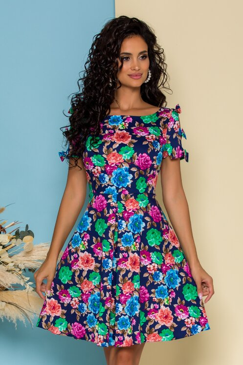 Rochie marime mare de zi bleumarin cu imprimeu floral si fundite