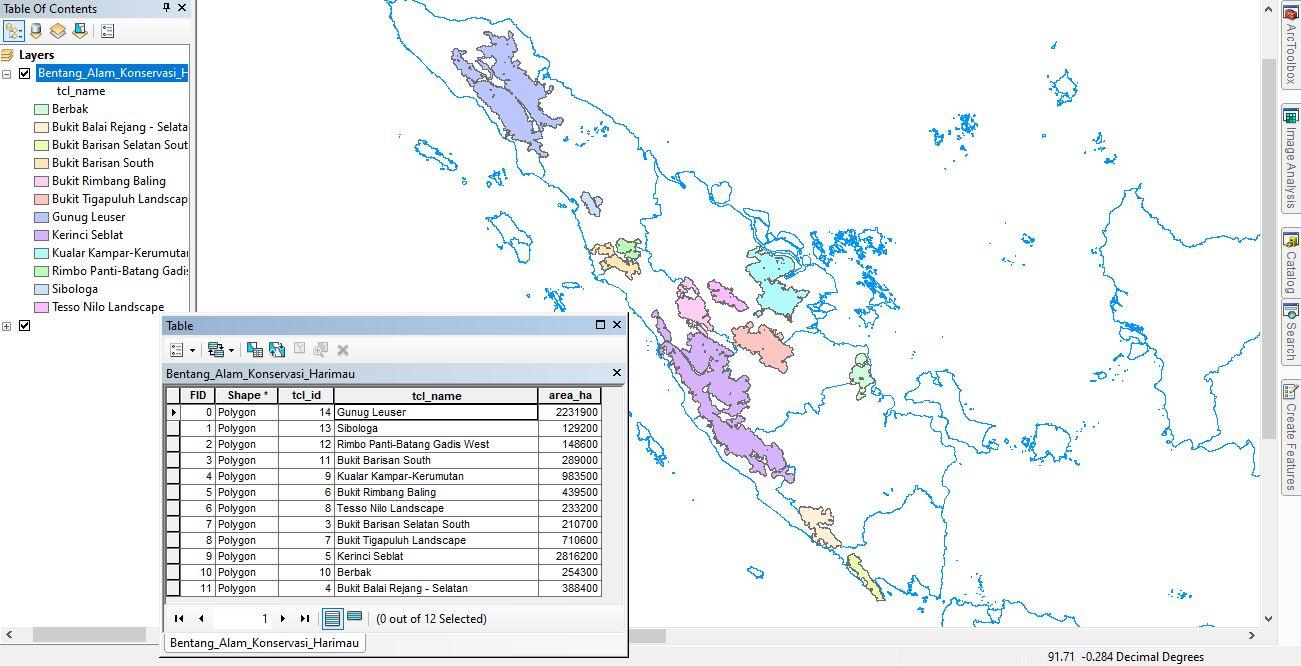 Data SHP Peta Bentang Alam Konservasi Harimau