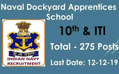 Naval Dockyard Apprentices Recruitment 2019 For 275 Trade Apprentice