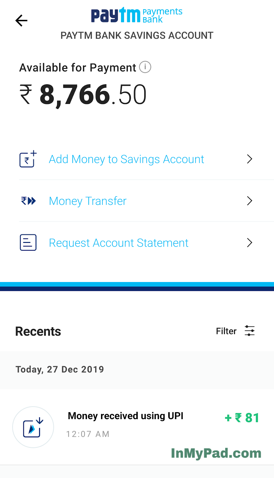 paytm payments bank statement