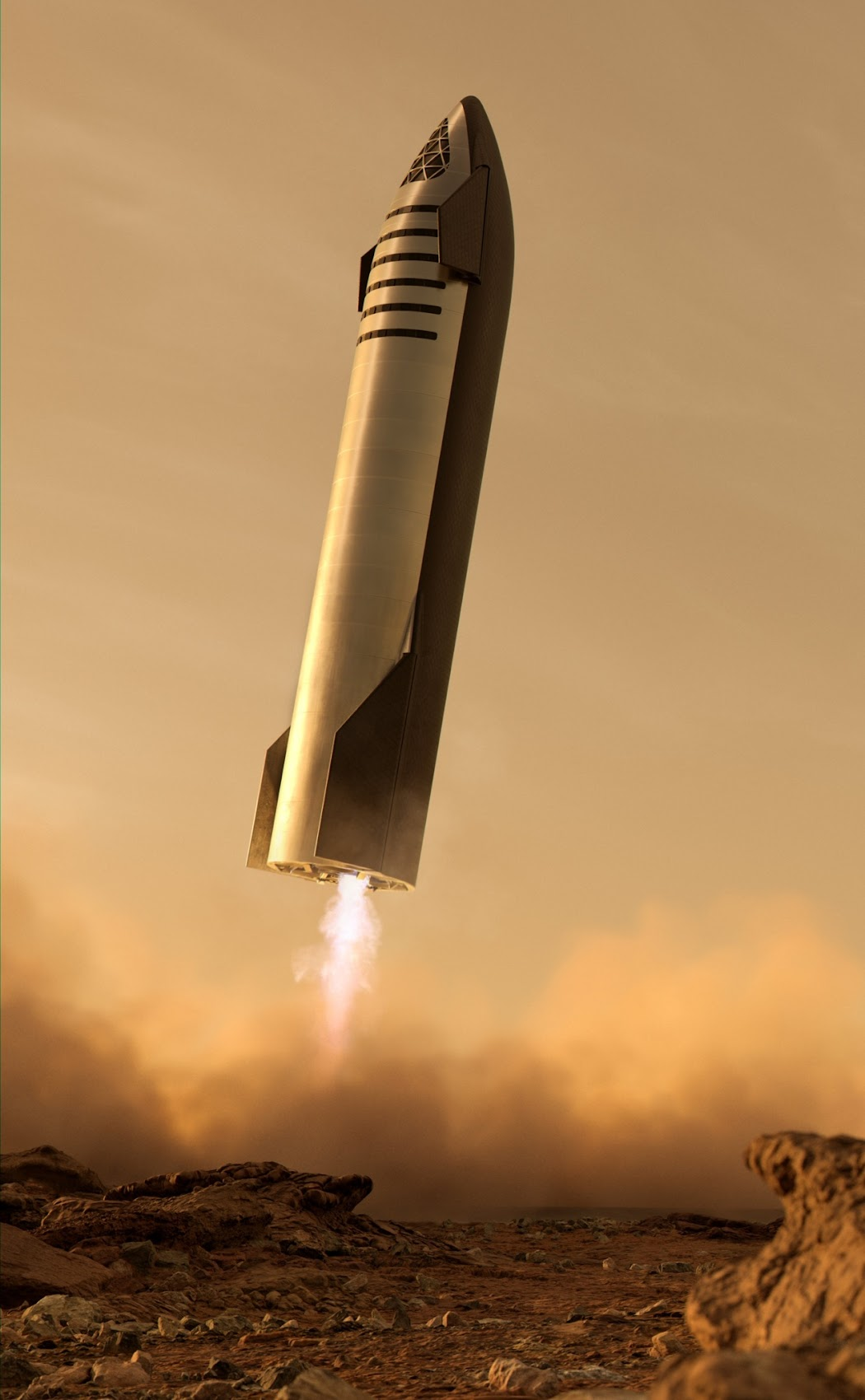 SpaceX's Starship landing on Mars by Kendall Dirks