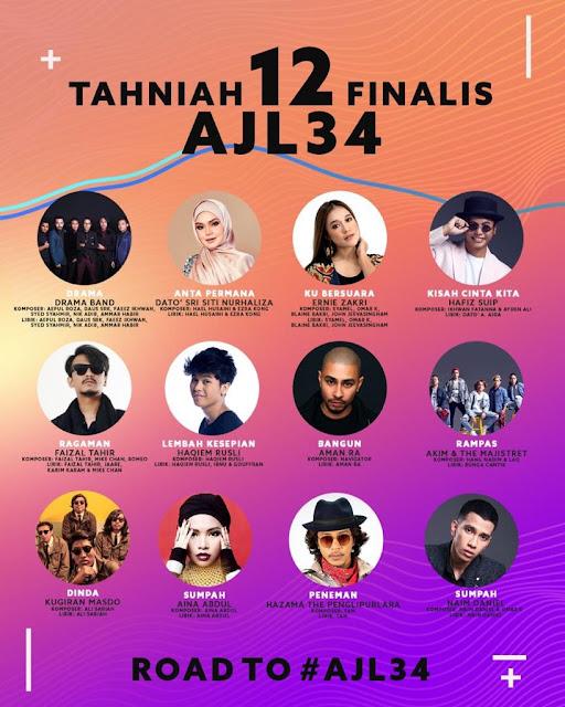Semi Final Muzik - Muzik 34, sfmm34, AJL34, Anugerah Juara Lagu Ke - 34, Finalis AJL34, Senarai 12 Lagu Yang Layak Ke Anugerah Juara Lagu Ke - 34,