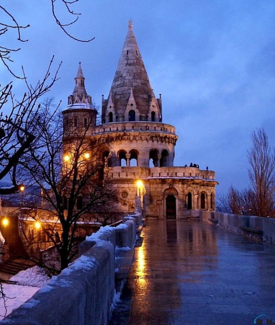 Fisherman's Bastion at night in snow, Budapest, Hungary | A Cup of T