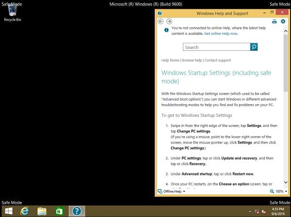 Windows 8 safe mode screen
