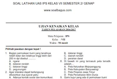 Soal UKK/ UAS IPS Kelas 7 SMP/ MTs Semester 2