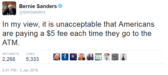 Bernie Sanders in my view it is unacceptable that Americans are paying a $5 fee each time they go to the ATM Twitter