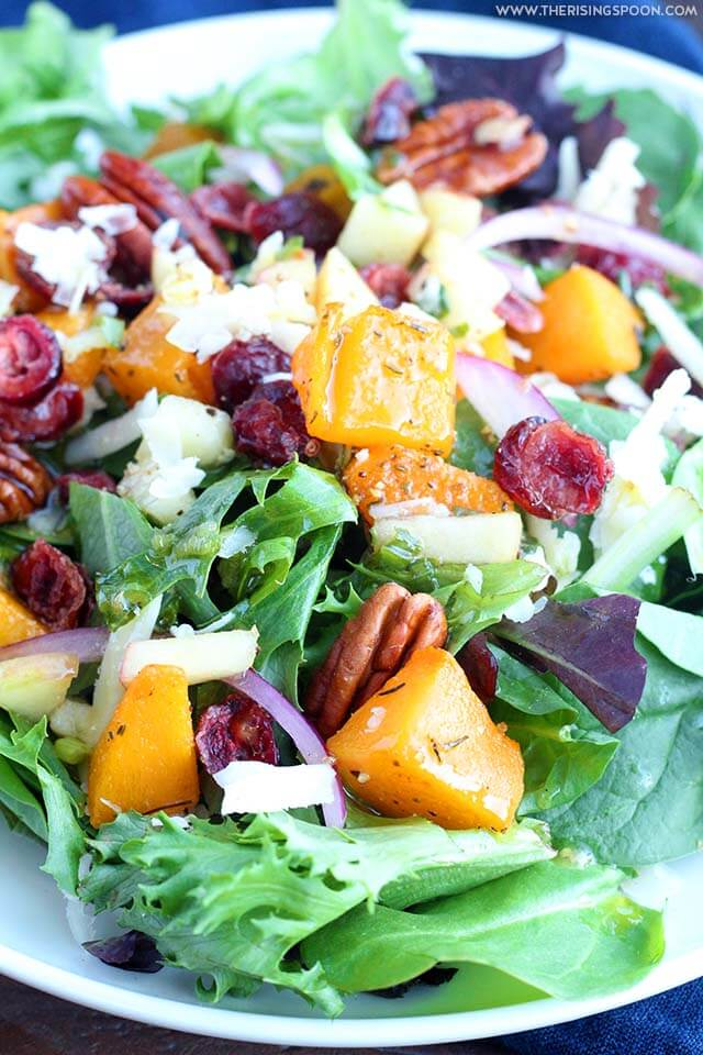 Thanksgiving Side Dish Recipe: Autumn Salad with Butternut Squash, Cranberries, Candied Pecans & Apple Cider Vinaigrette