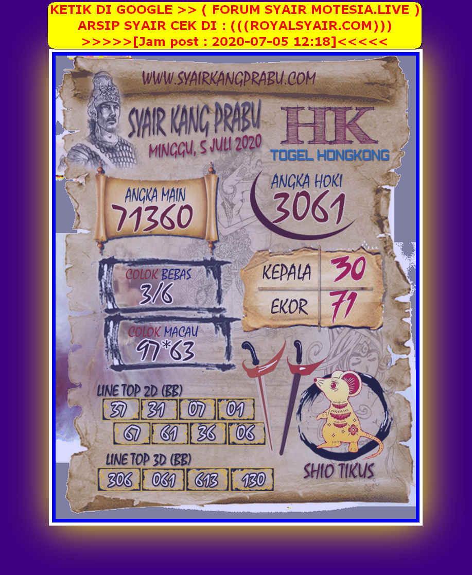 Kode syair Hongkong Minggu 5 Juli 2020 96
