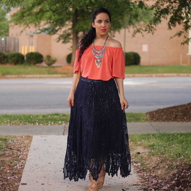 Navy Blue Crochet Maxi Skirt