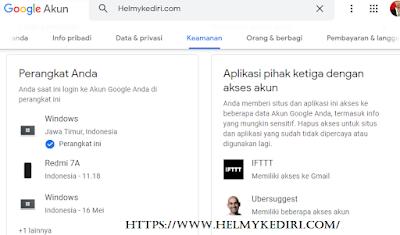 mengecek aplikasi dan layanan yang terhubung ke akun google