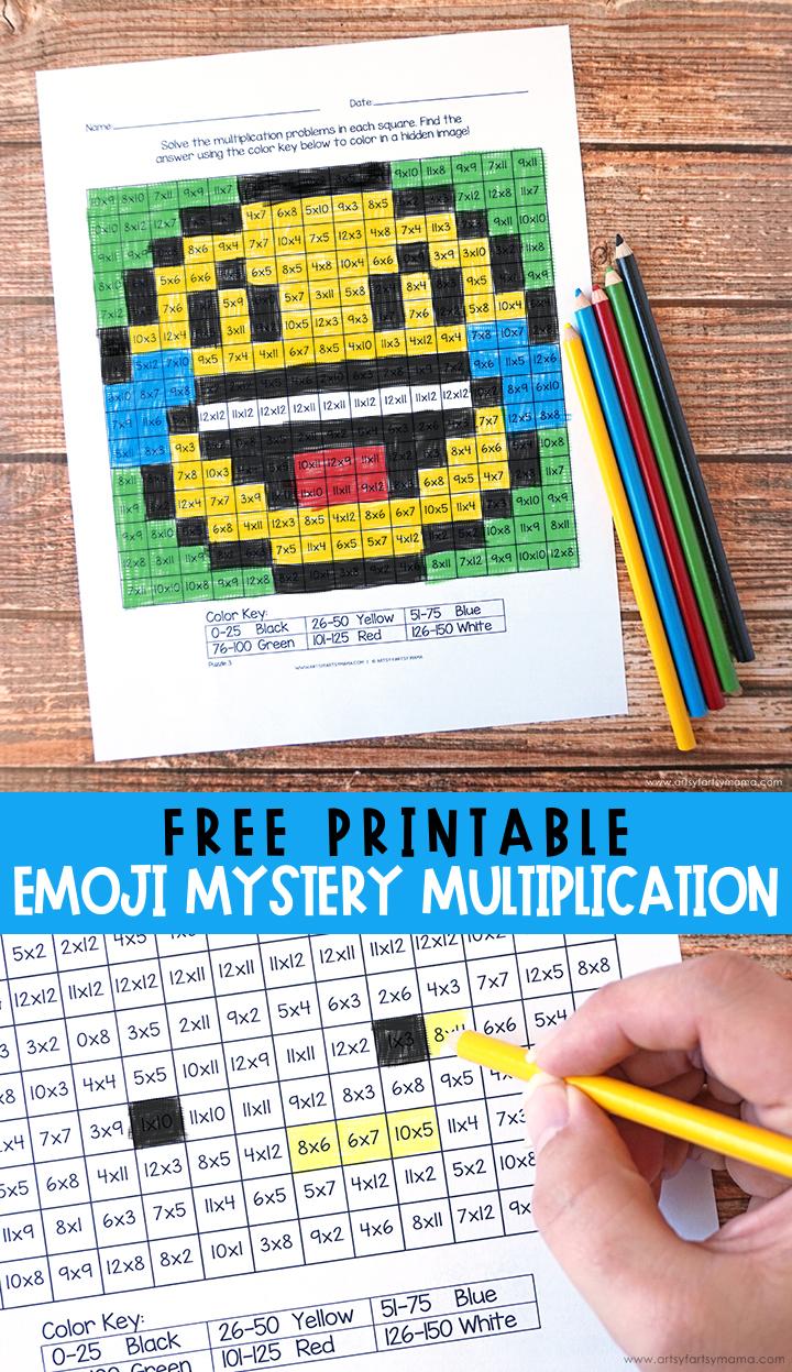 Free Printable Emoji Mystery Multiplication Worksheets   artsy-fartsy mama [ 1247 x 720 Pixel ]