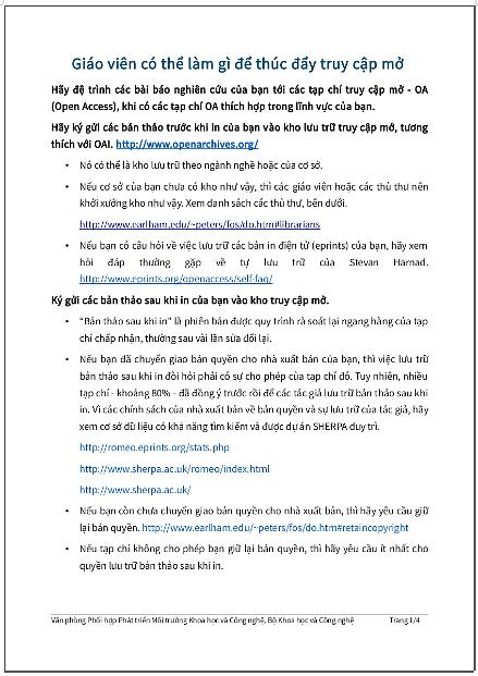 Giáo viên có thể làm gì để thúc đẩy truy cập mở - bản dịch sang tiếng Việt