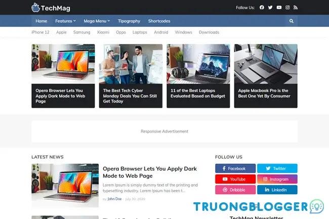 TechMag Premium Blogger Template Free Download