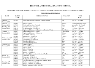 WAEC GCE 2020 Exam Time-Table | Jan/Feb 1st Series [PDF Download]