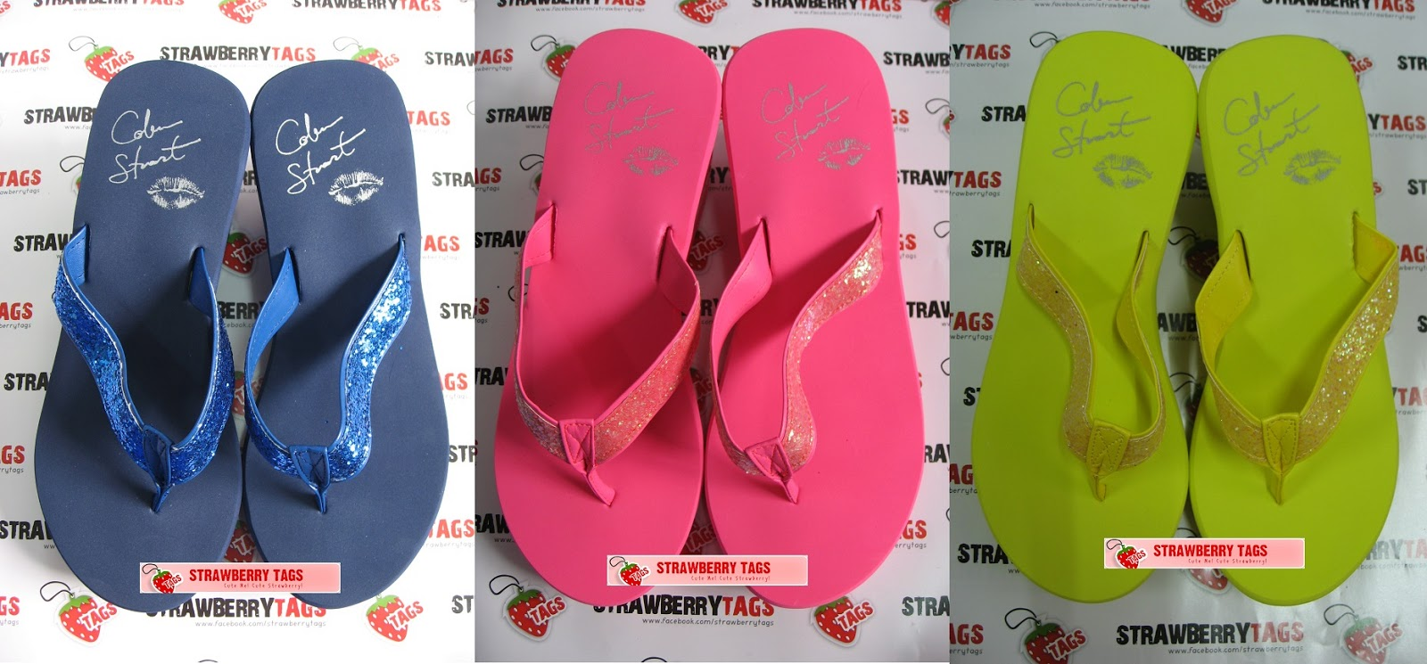 Strawberry Tags Colin Stuart Glitter Wedge Flip-Flop -3775