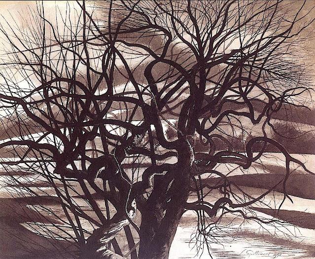 Léon Spilliaert, a gnarled tree in silhouette